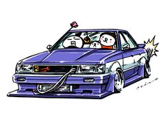 "car illustration ""crazy car art"" jdm japanese old school ""GX71 MARKⅡ"" original characters ""mame mame rock"" / © ozizo ""ROCK'N ROLL"" Line theme ""Crazy Car Art"" Line themes ""Crazy Car Art"" Line stickers ""Crazy car Art"" Telegram stickers"