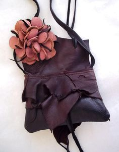 brown, black and pink suede deerskin leather shoulder purse with flower - $79.00