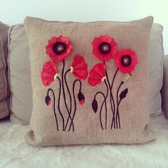 Natural Burlap Poppies Flower Embroidered by PeriferiBodrum, Felt Cushion, Felt Pillow, Crochet Pillow, Cute Pillows, Diy Pillows, Decorative Pillows, Throw Pillows, Penny Rugs, Fabric Crafts