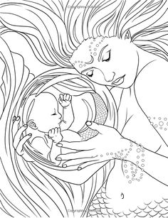 Mermaids - Calm Ocean Coloring Collection (Fantasy Art Coloring by Selina)… Mermaid Coloring Pages, Coloring Pages To Print, Coloring Book Pages, Printable Coloring Pages, Coloring Sheets, Free Adult Coloring, Mermaid Drawings, Sketches, Artwork