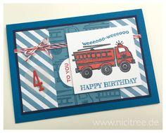 Stampin Up! You're My Hero, Birthday Card, Fire Engine, Geburtstagskarte, Feuerwehr, Match the Sketch # 125