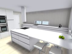 New fabulous fan creation to brag about! What do you think of the double oven? The sleek white? Interior Decorating, Interior Design, Office Desk, Corner Desk, Home Improvement, Shelves, House Design, Room, Counter