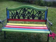 skittles bench, outdoor furniture, outdoor living, painted furniture