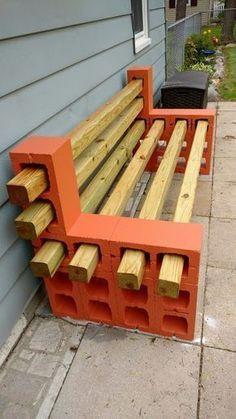 Cinder Block Furniture, Pallet Garden Furniture, Furniture Ideas, Wood Furniture, Cinder Blocks, Cinder Block Bench, Garden Pallet, Outdoor Furniture, Pallet Garden Projects