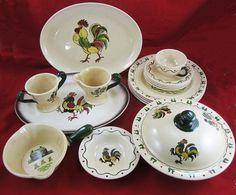 metlox green rooster | Metlox Poppytrail Colonial Heritage California Provincial Pottery ...