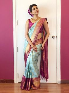 Kajal Aggarwal saree stills at Vidhatri Shopping Mall launch Kanjivaram Sarees Silk, Indian Silk Sarees, Kanchipuram Saree, Indian Beauty Saree, Indian Skirt, Bridal Silk Saree, Saree Wedding, Indian Designer Outfits, Indian Outfits