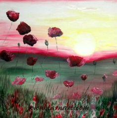 Landscape oil painting. Original artwork. Poppy painting.Modern oil painting.Sunset painting.Fine art painting.Canvas wall art.Floral art.