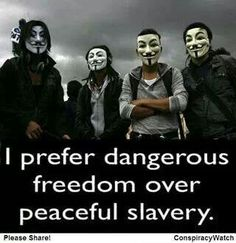 I prefer dangerous freedom over peaceful slavery.