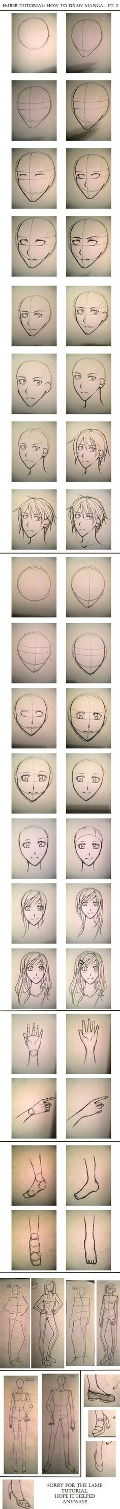TUTORIAL: How to Draw Manga 2 by =ember-snow on deviantART Drawing Tutorials, Drawing Manga, Art Drawing, Drawing'S Art, Face Drawings, Drawing Guy Faces, Drawing Stuff, Girl Face Drawing, How To Draw Anime Guy
