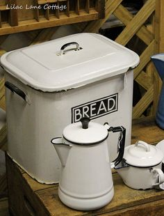 White enamelware collection. Such fab items for french country kitchen!!!!!!