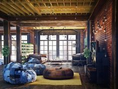 Living Room Brown Brick Wall Light Bulb Brown Leather Sofa Wooden Coffee Table Yellow Sectional Rug Green Plant Metal Stand Light Glass Window Black Television Home Theater Basic Rules To Style Industrial Living Room