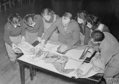 A group of members of the Women's Land Army surround their teacher as they listen to a lecture on the anatomy of a horse. On the table in front of them are diagrams of various cross-sections of a horse, showing the bones, muscles and organs.