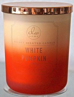 DW HOME CANDLE WHITE PUMPKIN 2 WICK CREAM SOY WAX FOG GLASS 15.010Z DW7313 NEW #DWHome