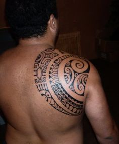 Polynesian tattoo. Create a shape, fill it. Seems to tell a story.