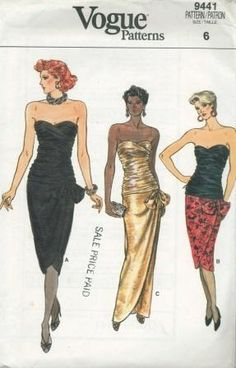 An original ca. 1985 Vogue pattern 9441.  MISSES' DRESS. Dress, below mid-knee or evening length, has close-fitting lined bias draped bodice, attached bow with knot, slightly tapered, wrap skirt with shaped hemline, and back zipper. Narrow hem. B: contrast.