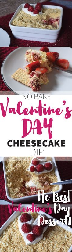 Valentine's Day Cheesecake Dip is THE best dessert for V-DAY: perfect for two people, easy to make, no baking required and really, really freaking good! Cheesecake Dip, Fun Desserts, Dips, Valentines Day, Treats, Chocolate, Baking, Breakfast, Ethnic Recipes