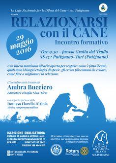 """29/5 incontro formativo """"Relazionarsi con il cane"""" organizzato da #LegadelCane #Putignano"""
