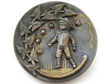 Antique vintage brass metal picture button victorian LARGE cut steel sailor boy