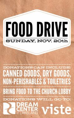 Food Drive Flyer For The Non Profit Dream Center Of Lakeland In Florida Designed By Travis Cooper At COOP CO