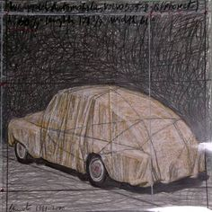 Christo - drawing for wrapped car Casablanca, Christo Art, Art Pictures, Art Images, Monochromatic Art, Bulgaria, Illumination Art, Artist Sketchbook, Christ