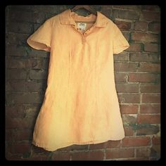 """FLAX tunic FLAX linen tunic/ mini dress. Faded peach in color. Front collar has mini snaps . One back pocket which falls just below/ on right butt cheek;) a line cut. Super Cute! Purchased at a boutique long ago. No spots, tears or any signs of wear. No size marked except for petite on label , I would says it's an XS/S . Back of neck to hem is approx 33"""" 100% quality linen. Flax Dresses Mini"""
