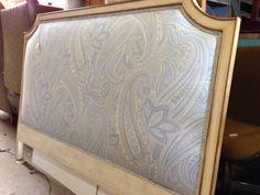 Headboard restored, upholstery in Robert Allen paisley.