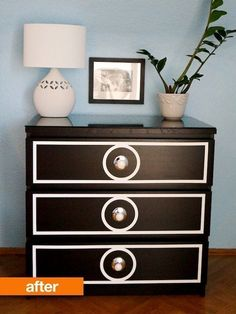Great idea for my black dresser I want to sale at the yard sale this summer, it would surely sell like this!