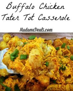 Buffalo Chicken Tater Tot Casserole #recipes #inspireothers