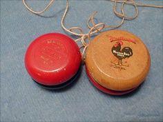 2 Vintage Wood Yo-Yo's, Hi-Ker & Weather Bird Shoes