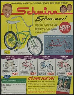The Schwinn Sting Ray! The yellow banana bike I shared with my sister Bmx, Old Advertisements, Schwinn Bikes, Cruiser Bikes, Old Ads, Christmas Toys, Vintage Bicycles, The Good Old Days, Cool Bikes