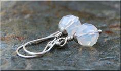 Milky Crystal Earring / Silver Wire Wrapped Earrings / Swarovski dangle earrings / Crystal Drop Earrings / Bridesmaid gift jewelry