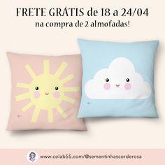 Frete grátis na compra de duas almofadas até domingo! Sementinhas Cor-de-Rosa por Carol Dib na Colab55 | quarto de criança | quarto infantil | quarto de bebê | sol fofo | nuvem fofa