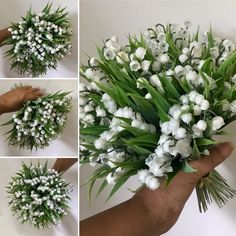 WEDDING BOUQUET of pure white artificial lily of the valley flowers & bear grass Lily Of The Valley Flowers, Bunch Of Flowers, Bride Bouquets, Flower Bouquet Wedding, Grass Edging, Artificial Wedding Bouquets, White Lilies, Nautical Wedding, Floral Wreath