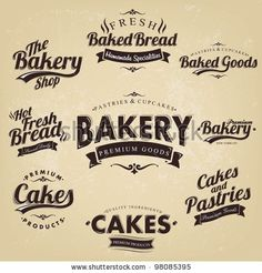 Vintage Retro Bakery Badges And Labels by Oros Gabor, via ShutterStock