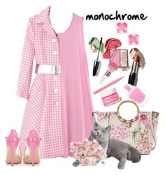 """""""Monochromatic"""" by loves-elephants ❤ liked on Polyvore featuring Dana Buchman, Salvatore Ferragamo, Guerlain, Too Faced Cosmetics, FCTRY and Kate Spade"""