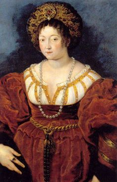 c. 1605.  Isabella d'Este. -Marchesa of Mantua and one of the leading women of the Italian Renaissance - Peter Paul Rubens - Ruben copied Titian's 1529 version of Woman in Red.