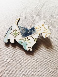 Vintage Wallpaper Wooden Doggy Brooch by MaisyandAlice on Etsy, $15.00