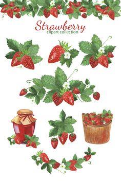 Strawberry Bush, Strawberry Tattoo, Strawberry Drawing, Strawberry Plants, Strawberry Wedding, Bush Drawing, Watercolor Fruit, Watercolor Wedding, Strawberry Clipart