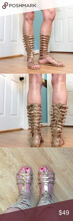 "🆕 Penny ❤ Kenny gold caged gladiator sandals Tristen style. Zippered back. adjustable buckled leg straps, these are in middle, there are 2 more holes on either side. My calf is 13"" diameter, foot is 10"" long. Man made materials. 11"" shaft. Penny ❤ Kenny Shoes Sandals"