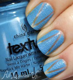 A look at the China Glaze Texture nail polishes plus a negative space nail art manicure. Get Nails, How To Do Nails, Hair And Nails, Nail Polish Style, Cute Nail Polish, Colorful Nail Designs, Cool Nail Designs, Textured Nail Polish, Negative Space Nails