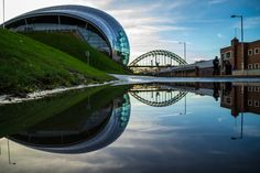 Reflection of the Sage and Tyne Bridge