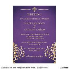 Shop Elegant Gold and Purple Damask Wedding Invitation created by Ljartwork. Purple Wedding Invitations, Gold Invitations, Wedding Invitation Templates, Damask Wedding, Wedding Cards, Rsvp, Marriage, Wedding Ideas, Future