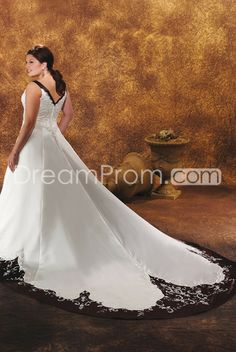 Gorgeous A-Line/Princess V-Neck Cathedral Train Tiered  Plus Size Wedding Dresses