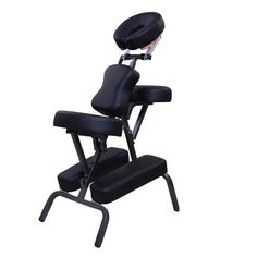 HOMCOM Portable Massage Chair Thick Foam Spa Health Luxury Faux Leather with Carry Bag, Adjustable Tattoo Chair with Rubber Feet Design, Black Spa Chair, Massage Chair, Transfer Tattoo, Wooden Patio Chairs, Drum Chair, Tattoo Chair, Office Waiting Room Chairs, Salon Chairs, Carry On Bag