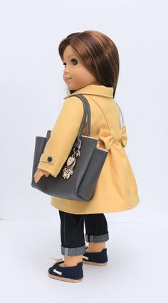 Golden Yellow Bow Coat & handbag fits 18 inch dolls such as American Girl® by NoodleClothing