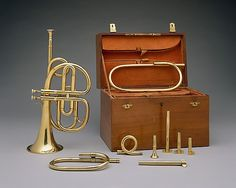 Courtois frères (Paris, France). Cornet à pistons in B–flat, 1833. The Metropolitan Museum of Art, New York. Purchase, Amati Gifts, 2002 (2002.190a–n) | The cornet was invented in France in the 1820s as a valved version of the post horn. The instrument met immediate success and soon replaced keyed bugles as a favorite among audiences. #paris