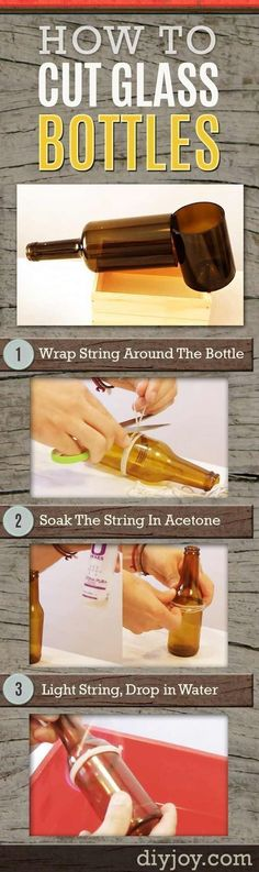 How To Cut Glass Bottles - Step by Step Tutorial for Bottle Cutting at Home for DIY Projects and Home Decor Crafts #DIYHomeDecorVideos #artsandcraftscouncil, #DIYHomeDecorWineBottles