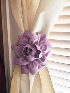 Items similar to THREE Dahlia Flower Curtain Tie Backs Curtain Tiebacks Curtain Holdback -Drapery Tieback- Baby Nursery Decor -Lilac Decor on Etsy Baby Nursery Decor, Girl Nursery, Lilac Nursery, Flower Nursery, Nursery Curtains, Curtains For Girls Bedroom, Baby Girl Curtains, Purple Curtains, Bedrooms