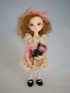 Sandrine with cat toy little art DOLL OOAK one of a by Marinart
