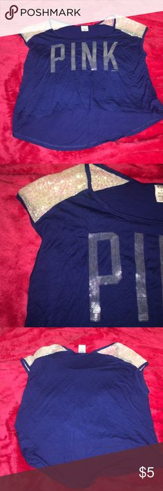 Navy Victoria Secret Short Waisted Sequin Tank Excellent Condition. Very short Waisted. Would more than likely be a crop top on a tall person. PINK Victoria's Secret Tops Tank Tops